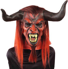 Straight From Hell Mens Adult Horned Devil Costume Latex Mask