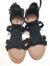 Minnetonka Merriam Women US 8 Black Wedge Heel Gladiator Sandals NWOT