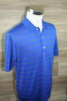 Greg Norman Polo Golf Shirt Play Dry Short Sleeve Men's SIze M - Blue Stripe