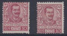 ITALIA 1901 Vittorio Emanuele III 10 C Tonalità Rosso sg65 Nuovo di zecca
