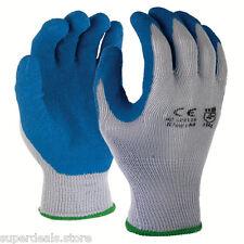 120 Pairs Gray Blue 10 Gauge Poly Cotton Blue Latex Palm Coating Glove - Medium