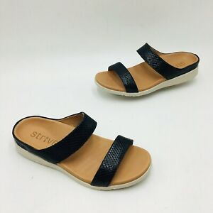 Strive Women's Faro Leather Orthotic Slide Sandal Size 8.5-9 Black