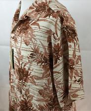 2XB Caribbean Mens Shirt NWT Off White Brown 100% Silk Hawaiian Vented Pocket