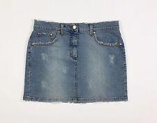 Blugirl minigonna jeans gonna tg 41 W27 azzurra corta brillantini strappi T807