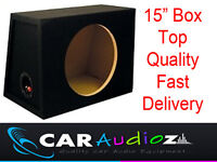 "15"" Inch Single Sealed Black Carpeted Car Sub woofer MDF Box Bass"