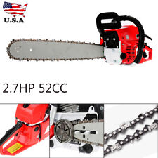 "20"" Bar Gas Chain Saw 52cc 2-Stroke Engine Aluminum Crankcase Gasoline"