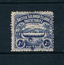 "Solomon Is. - 1907 - 2d Indigo Blue ""War Canoe"" - SC 3 [SG 3] USED 20 E"