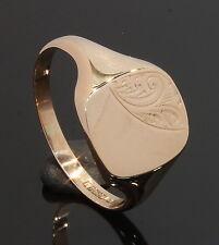 9 Carat Rose Gold Part Engraved Cushion Signet Ring Size Q 1/2 9CT (80.17.596)