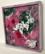 Floral Rose Abstract 6x6 Acrylic Poured Art DaVinci Cradled board Penny StewArt