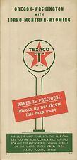 1950 TEXACO Paper Is Precious Road Map OREGON WASHINGTON IDAHO MONTANA WYOMING