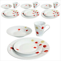 16PC Complete Dinner Set Plates Bowls Cups Crockery Tableware Family Dining Set