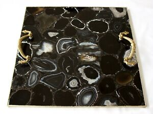 Black Agate Serving Tray With Brass Handles Square For Home Kitchen Decor