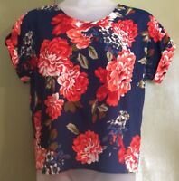 """Uk16 46"""" Boxy Top Floral Roses Big Print Blue Short Sleeve First Avenue Casual"""