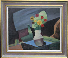 PAUL EAREE BRITISH POST CUBIST FLORAL STILL LIFE 1930' OIL PAINTING ART1888-1968