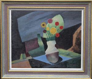 PAUL EAREE BRITISH POST CUBIST FLORAL STILL LIFE 1930' OIL PAINTING ART1888-1968