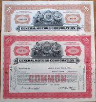 GM/General Motors Corporation PAIR 1950s Stock Certificates - Red & Brown