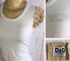 Dolce & Gabbana Junior Tee Shirt Top Ruffle Sleeves RODEO GIRLS D&G Sz M White