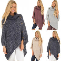 Womens Poncho Sweater Jumper Cloak Knitwear Shawl Cape Tops Warm Batwing Outwear