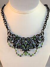 Swarovski Crystal Bib Necklace Hand Made Black Curb Chain