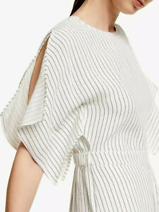 New John Lewis Frill Sleeve Stripe Jumpsuit White UK 10 RRP £99