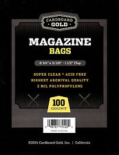 100 CBG Magazine 2-Mil Archival Poly Bags + 100 Acid Free Backer Boards