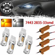 4x 7443 33 SMD White/Amber Switchback LED Turn Signal Light Bulbs+ Resistors