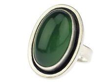 Art Deco Georg Kramer 835 Silber grüner Achat Cabochon Ring Model N 23