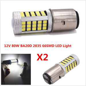 1Pair 12V 80W White LED BA20D 2835 66SMD Motorcycle Headlight DRL Fog Light Bulb