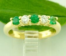 14k Solid Yellow gold Natural Round Colombian Emerald Solitaire Ring 0.67 ct