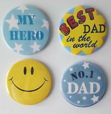 Dad My Hero & Smilie Face Button Fridge Magnets set of 4 by T Squared