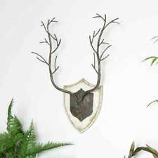 Rustic Stag Antler Wall Decor Plaque Industrial Vintage Christmas shield 3D art