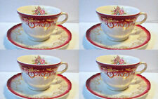 4 Cups & Saucers Vintage Knowles Cranberry Swag & Flowers Dinnerware
