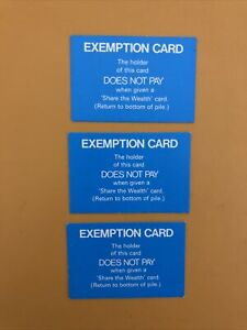 Game of Life Vintage Game 1984 SPARE REPLACEMENT EXEMPTION CARD X3
