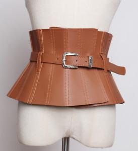 Wide PU Leather Buckle Waist Belt Women Shirt Corset Luxury Waistband Belt