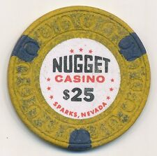 NUGGET CASINO SPARKS NV 2ND ISSUE $25 CHIP HORSHU MOLD 1972