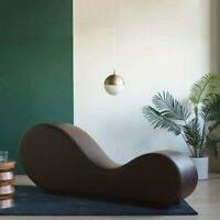 Brown Modern Bonded Leather Chair Stretching Relaxation Chaise Lounge Yoga Chair