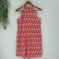 Versona Womens Halter Neck Shift Dress Flamingo Print Size Small S Pink Casual