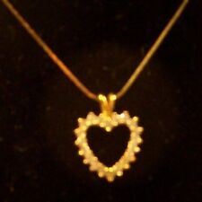 GOLD FILLED ON STERLING SILVER 24 INCH CHAIN WITH A RHINESTONE HEART PENDANT