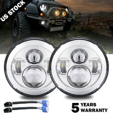 "DOT Approved Chrome 7"" Round LED Projector Hi/Lo Beam Headlight for Hummer H1 H2"