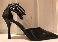 Pierre Dumas Black Strappy High Heel Pumps w/ Rear Zip Size 6 U.S. Womens Shoe