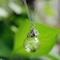 Chic Lady Real Dandelion Seeds Lucky Glass Wishing Bottle Chain Necklace Pendant