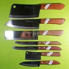 Thai Chef Knife Cook Knives KIWI Set 7 Wood Handle Kitchen Blade Stainless Steel