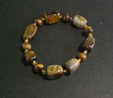 "QVC Tiger Eye Ladies Brown Bracelet 7"" Long Beaded Resin Material"