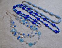 VINTAGE TO NOW ASSORTED MULTI BLUE GLASS & LUCITE BEADED NECKLACE LOT