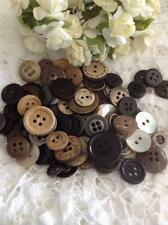 Old & New Mixed Buttons x 100 Mother Of Pearl,Silver,Black,Wood,Brass