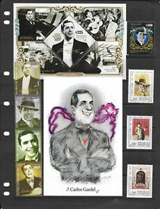 Argentina Stamps Carlos Gardel, Tango Topic MNH 10 Stamps + Card High Value !