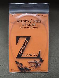 100# MUSKY FLUOROCARBON LEADERS (3-Pack) BEARING SWIVEL MUSKIE LEADER LURE BAIT