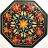 13 Inch Marble Coffee Table Top Inlay Side Table with Semi Precious Stones Work