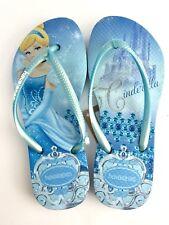 Havaianas Kids Blue Silver Disney Princess Cinderella Slim Flip Flops sz 1.5- 2