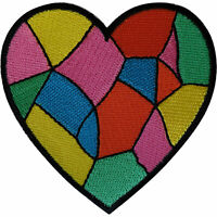 Rainbow Love Heart Iron On Patch Sew On Embroidered Badge Embroidery Applique
